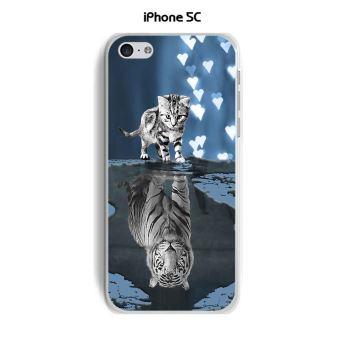 Coque TPU gel souple Apple iphone 5C design Chat Tigre Blanc fond bleu noir