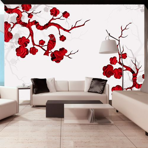 100x70 Papier peint Orient Admirable Red bush