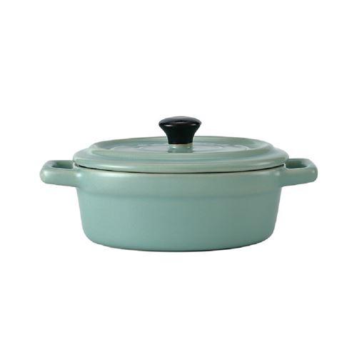 Mini cocotte ovale bleue/verte avec couvercle et poignées HobbyCook