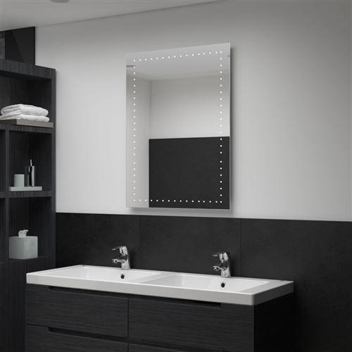 Miroir mural à LED pour salle de bains 60 x 80 cm (144712)
