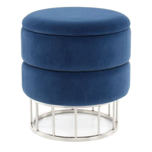 Paris Prix - Pouf & Coffre De Rangement zéro 41cm Bleu
