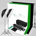 Kit d'Éclairage Studio Photo Craphy SHLP-0125 1250W 5500K -Softbox, Support de Lumière, Support de Fond, Toiles de Fond, 125W Ampoule
