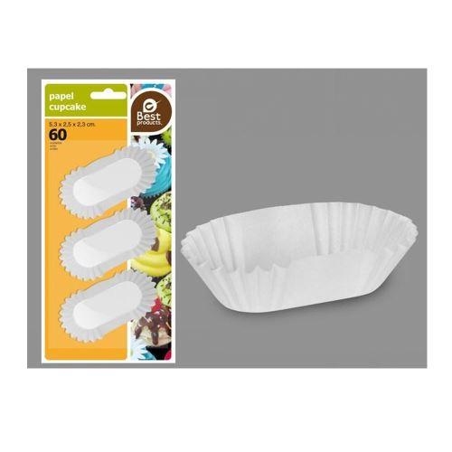 60 moules à madeleine allongé blanc 5.3x2.5x2.3cm