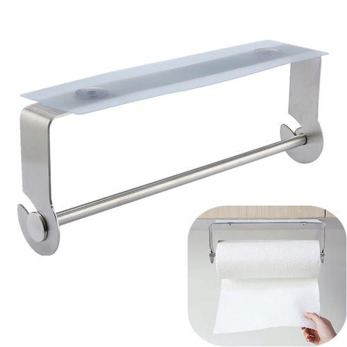 Porte-serviette en papier adhésif pour salle de bain de cuisine brossé
