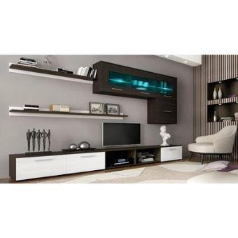 Home innovation - meuble de télévision, meuble de salon moderne avec leds,  finitions blanc laqué et wengué, dimensions : 250x190x42 cm de profondeur