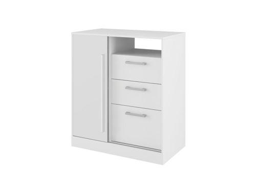 Commode DEVY - 1 niche, 1 porte et 3 tiroirs - Blanc