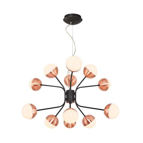 HOMEMANIA Lampe à Suspension Kosmos Chandelier - à Sphère - de Plafond - Noir, Cuivre en Métal, 64 x 64 x 120 cm, 12Led x Max 60W, 6000Lumen, 3000K Lumière Blanc Naturel