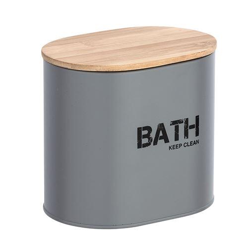 Boîte de rangement salle de bain Gara - L. 14 x H. 13 cm - Gris