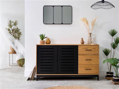 BOBOCHIC Buffet 141cm AUSTIN 2 portes noir / bois clair