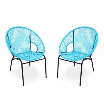 Ensemble de 2 fauteuils scoubidou - Mexico - cordage PVC ...