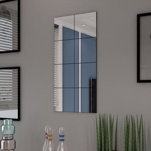 Dealpark- Carreaux de miroir Verre sans cadre 8 pcs 20,5 cm