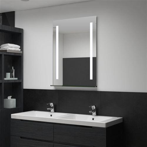 Miroir mural à LED pour salle de bains avec étagère 60x80 cm