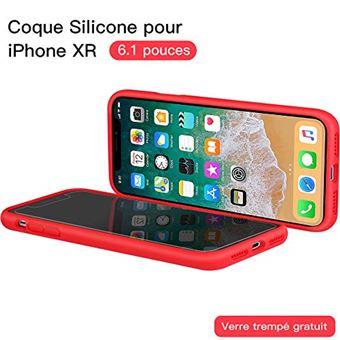 coque iphone xr verre trempe rouge