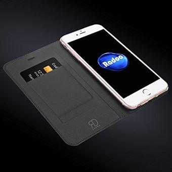 Radoo Coque iPhone 6 Coque iPhone 6S Ultra Mince en Cuir PU Premium Houe a Rabat Portefeuille Etui de Bumper Folio a Clapet pour iPhone 6 iPhone 6S 4 7 Pouces Gris Noir