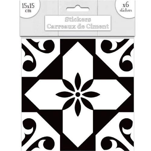 6 Stickers carreaux de ciment - 15 x 15 cm - Noir et blanc