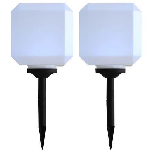 Lampe cubique solaire à LED d'extérieur 2 pcs 20 cm Blanc