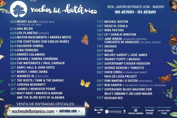 NOCHES DEL BOTÁNICO. Del 20/06 al 31/07/19. Madrid. Sorteamos entradas para todos los conciertos
