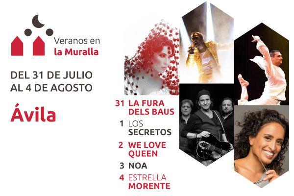 VERANOS EN LA MURALLA. Del 31/07 al 4/08/19 (Ávila). Sorteamos entradas para los conciertos