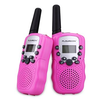 Conjunto de 2 Walkie Talkies Floureon XF-388 8CH Twin UHF400-470MHZ 2-Way Radio 3KM, Rosa