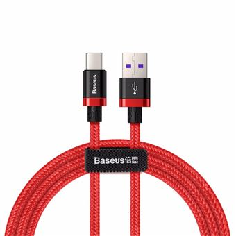 Baseus Tipo-C Cable de carga Cable de carga rápida trenzado de nylon de alta densidad 40W / 5A, Rojo
