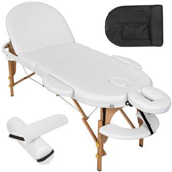 Camilla para masajes ovalada con acolchado de 5cm y cojines rollo, Blanco