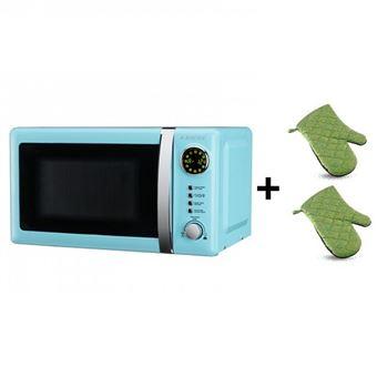 Pack Microondas Jocel JMO001306, 20 Litros, Azul, 800 w + juego 2 manoplas