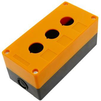Caja de control de dispositivos eléctricos BeMatik para 3 pulsador o interruptor de 22 mm amarillo