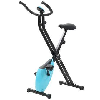Bicicleta estática vidaXL, plegable, Azul y Negra