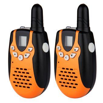 Conjunto de 2 Walkie Talkies M602 8CH Twin UHF400-470MHZ 2-Way Radio 3KM, Naranja y Negro