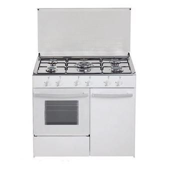 Cocina de gas butano/natural HVG CGB, 5 quemadores, Horno a gas, acabado blanco