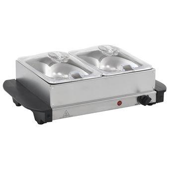 Calientaplatos para bufé vidaXL de acero inoxidable 200 W 2x1,5 L