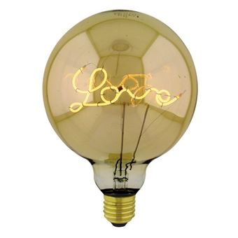Bombilla Homemania Curved Up Love Oro 12,5x12,5x17,5cm