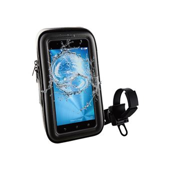 "Soporte bicicleta/moto/scooter Muvit universal a manillar, acceso a pantalla. Impermeable. Hasta 5,5"""" negro"