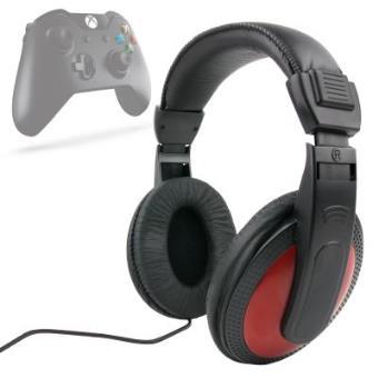 Auriculares Estéreo Para XBOX ONE - En Rojo y Negro Con Cable De 2 m + Adaptador Jack 6.5 mm Por DURAGADGET