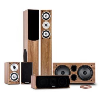 auna Linie-501-WN 5.1 Sistema de sonido home cinema 600W RMS (2 altavoces de pie 280W, subwoofer activo 500W, 2x altavoz estantería 100W, central 120W, cable 25m, entrada RCA, color nogal)