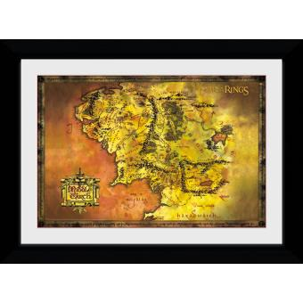 Fotografia enmarcada El señor de los Anillos Mapa clásico (30mm Negro)