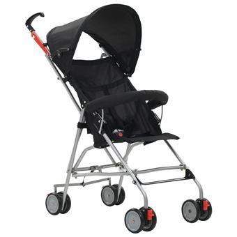 Sillita vidaXL de paseo para bebé negra acero