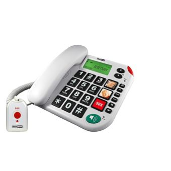 Teléfono Sobremesa Maxcom / Memoria / Teclas Grandes/ Botón sos / Senior kxt 481 Blanco