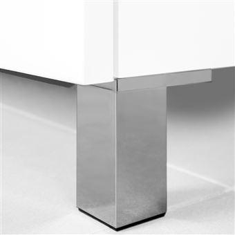 Emuca Pie para mueble, 120 mm, Plástico, Gris metalizado, 4 ud.