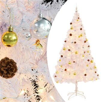 Árbol Navidad artificial vidaXL, decorado bolas luces LED 210 cm Blanco