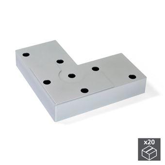 Emuca Pie para mueble, altura 12 mm, Plástico, Gris metalizado, 20 ud.