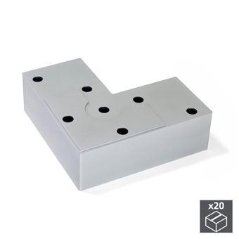 Emuca Pie para mueble, altura 24 mm, Plástico, Gris metalizado, 20 ud.
