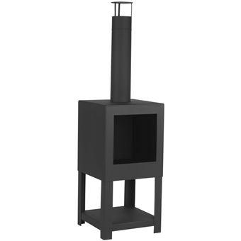 Chimenea exterior Esschert Design, sitio para leña Negro FF410
