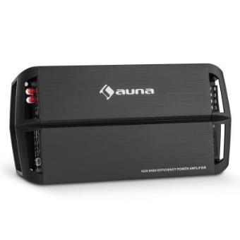 auna AMP490BK Transformador para coche 4 Canales (360W potencia, amplificador A/B puenteable 2x o 4x canal , filtro de paso bajo y alto regulable, mando distancia, negro)