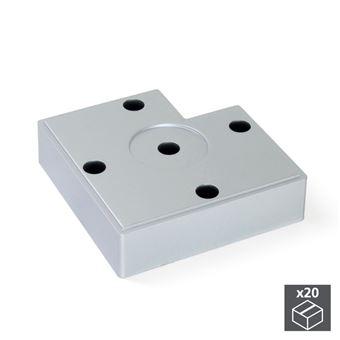 Emuca Pie para mueble, altura 30 mm, Plástico, Gris metalizado, 20 ud.