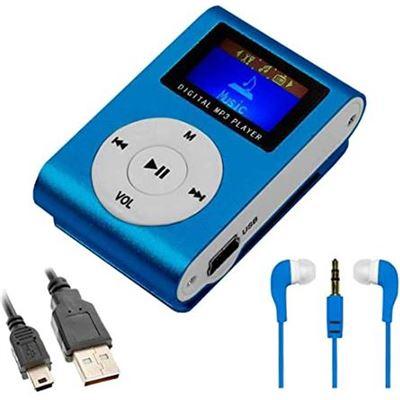 Mini Reproductor MP3 Azul con Clip, Pantalla LCD y Radio fm