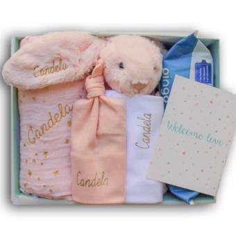 Canastilla para bebé personalizada en tonos rosas - Tu Bebebox -  Niña