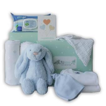 Canastilla para bebé personalizada en tonos azules - Tu Bebebox - Niño