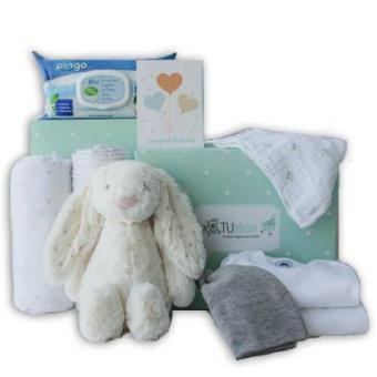 Canastilla para bebé personalizada en tonos grises - Tu Bebebox - Unisex