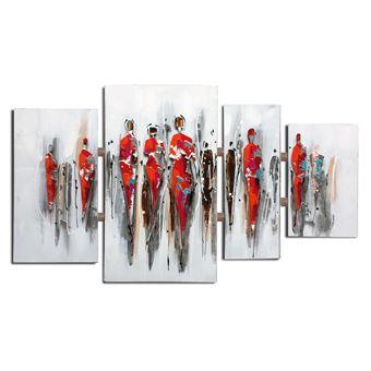 Composición de cuadros abstractos personas. Collage 3D con aluminio (124 x 70 cm) - 50291011444376